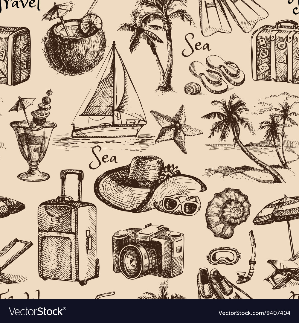 Travel and vacation vintage seamless pattern Hand