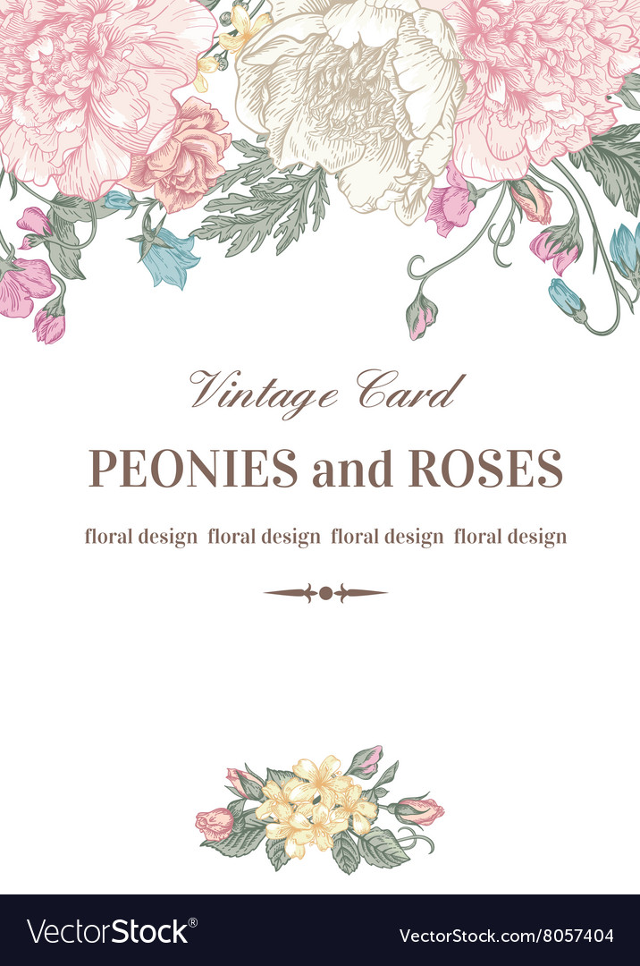 vintage floral card with garden flowers royalty free vector