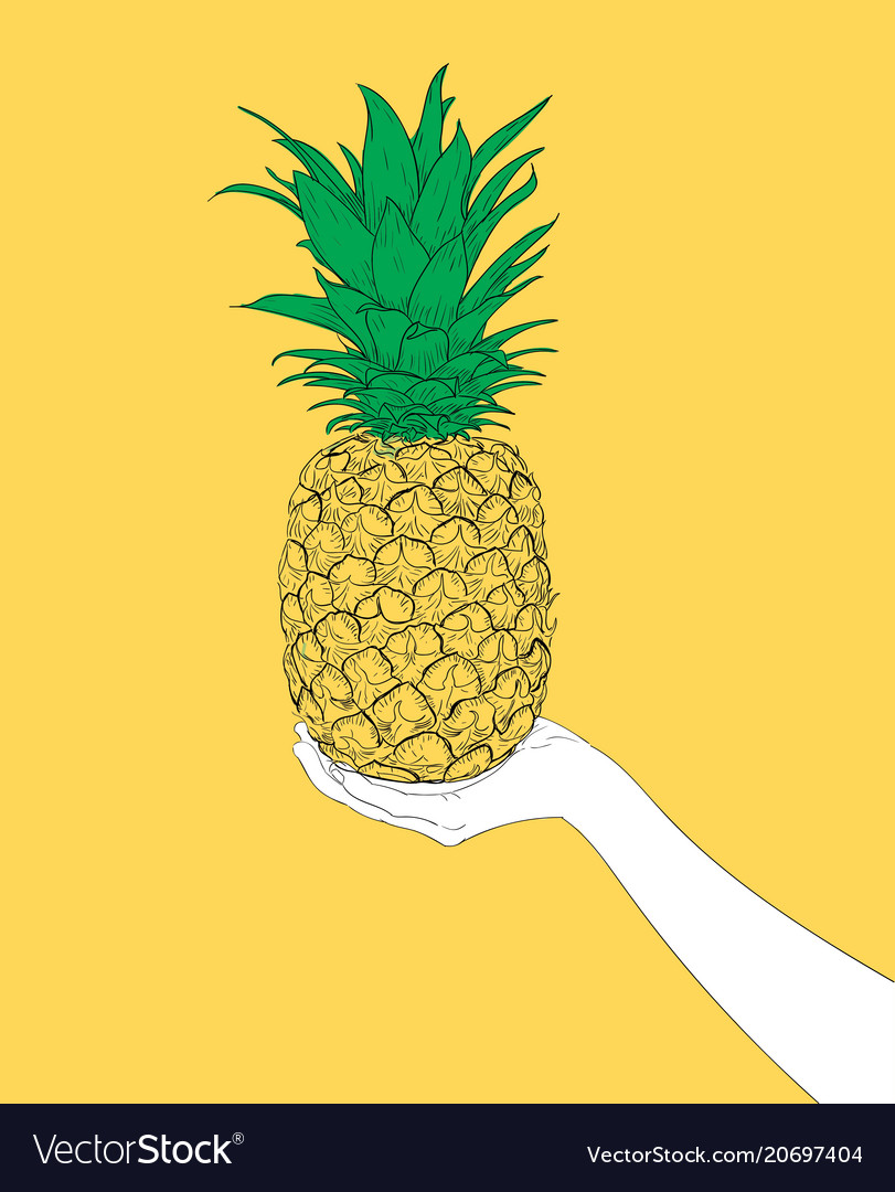 Woman hand holding a delicious yellow pineapple