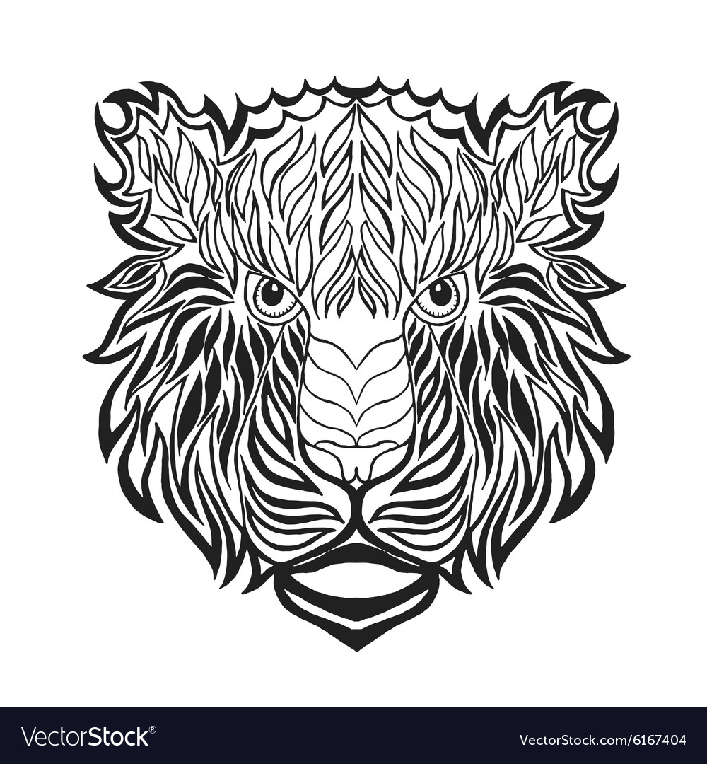 Zentangle stylized tiger head Sketch for tattoo