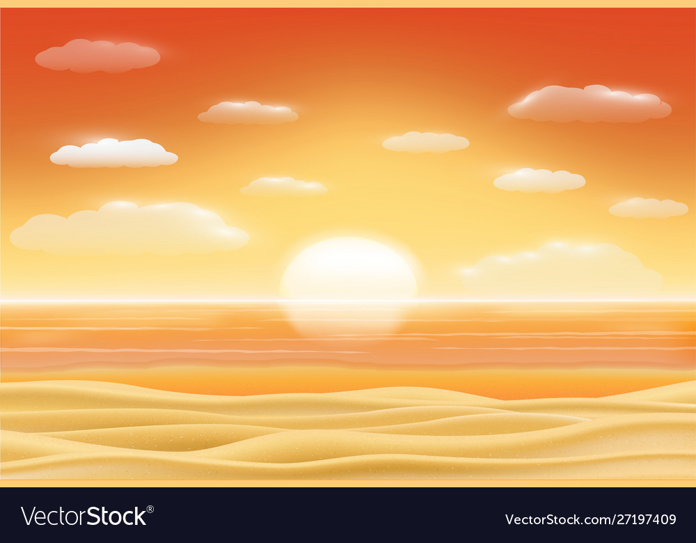 Beautiful sunset sea sand beach scene