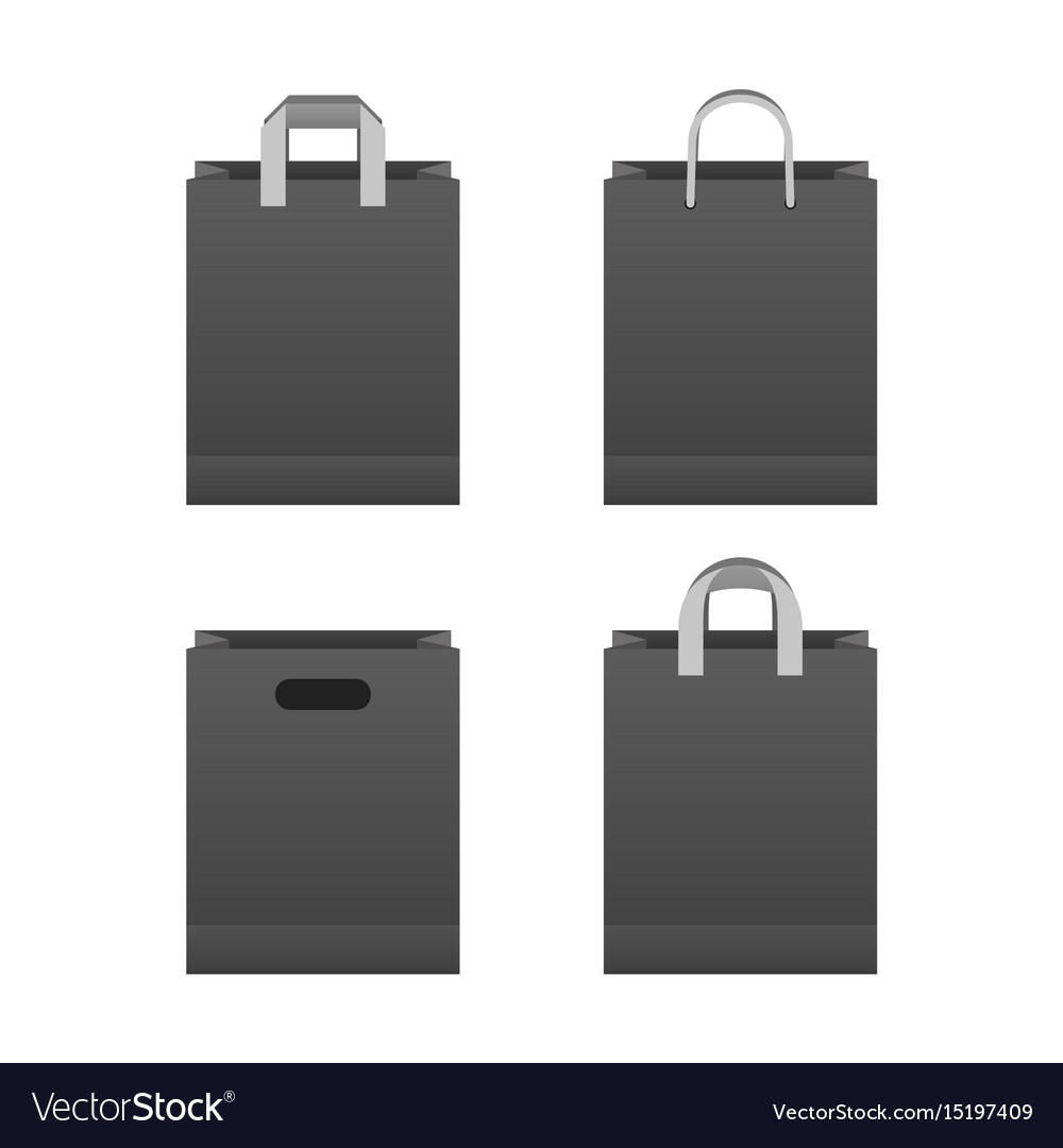 Black paper shopping bag set