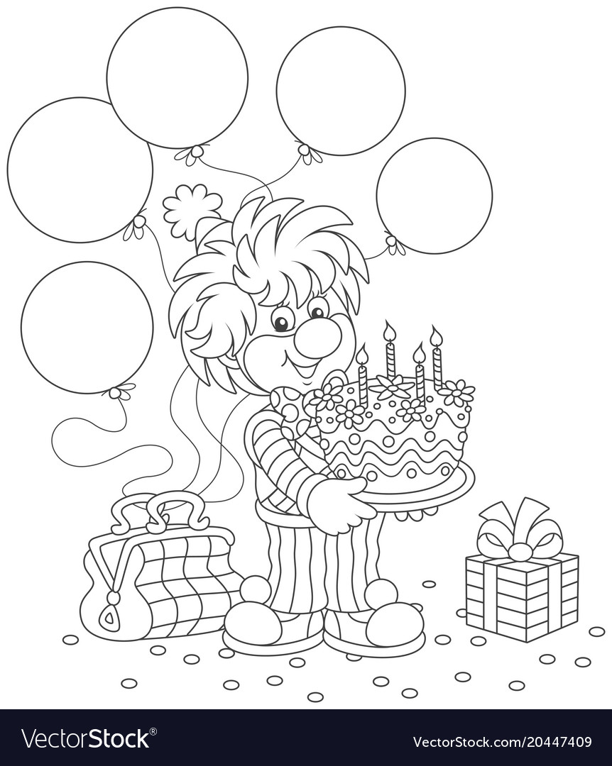 Circus clown with birthday cake