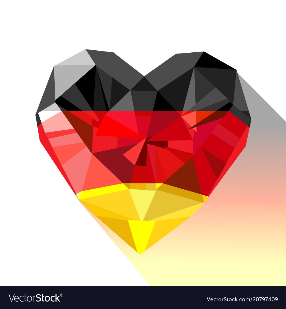 Crystal gem jewelry heart with german flag