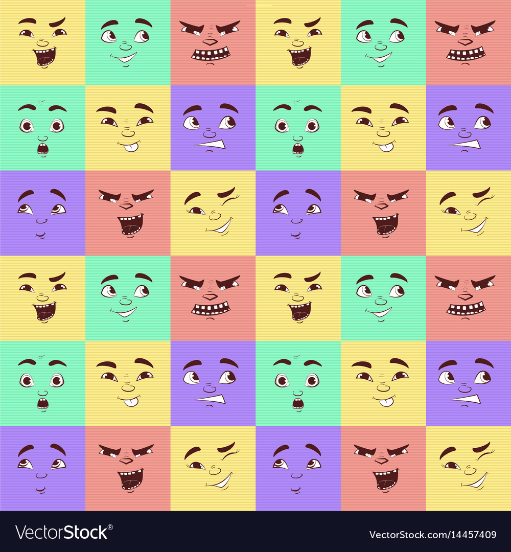 Funny cartoon facial expressions seamless pattern