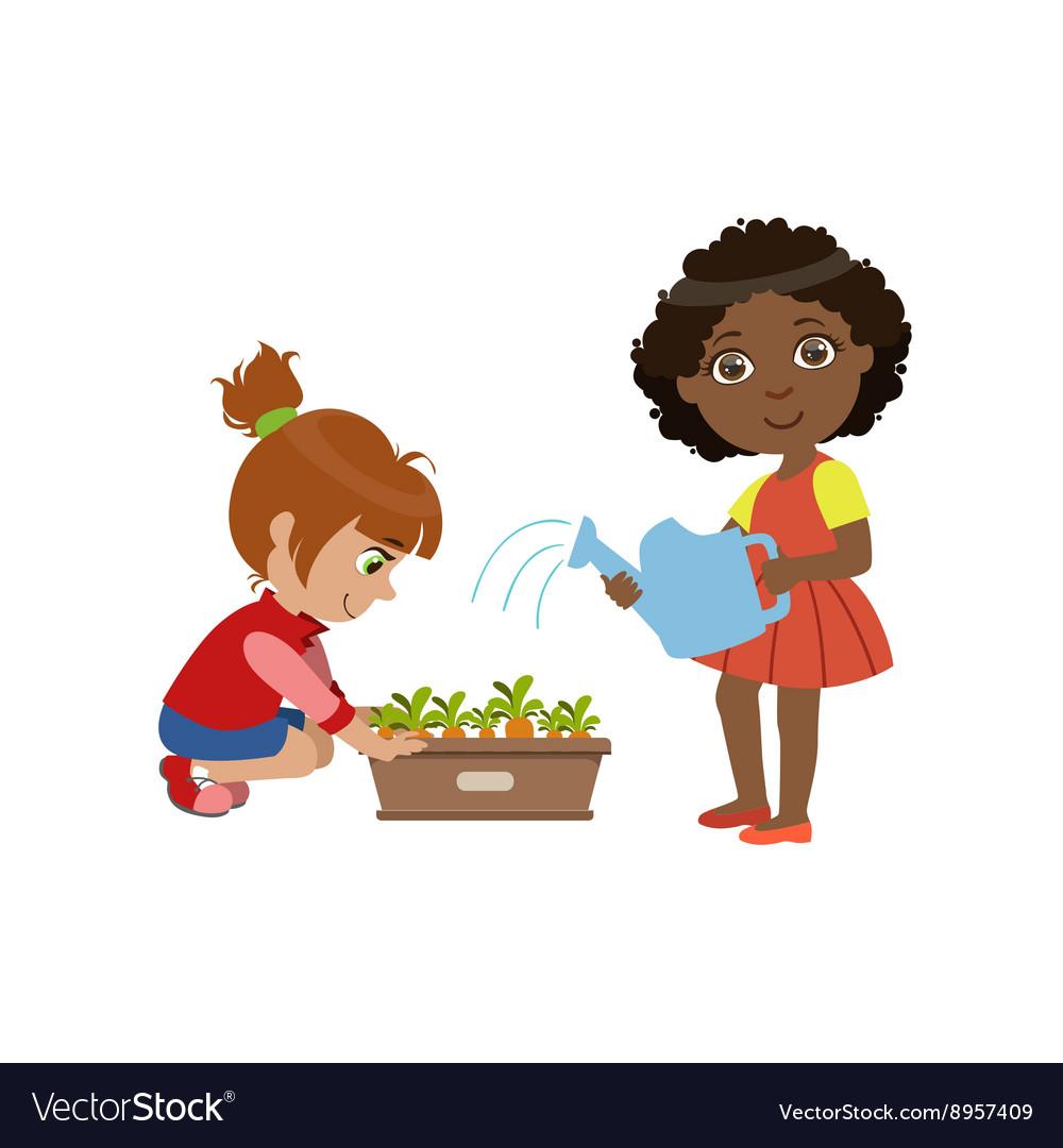 Girls Gardening Together