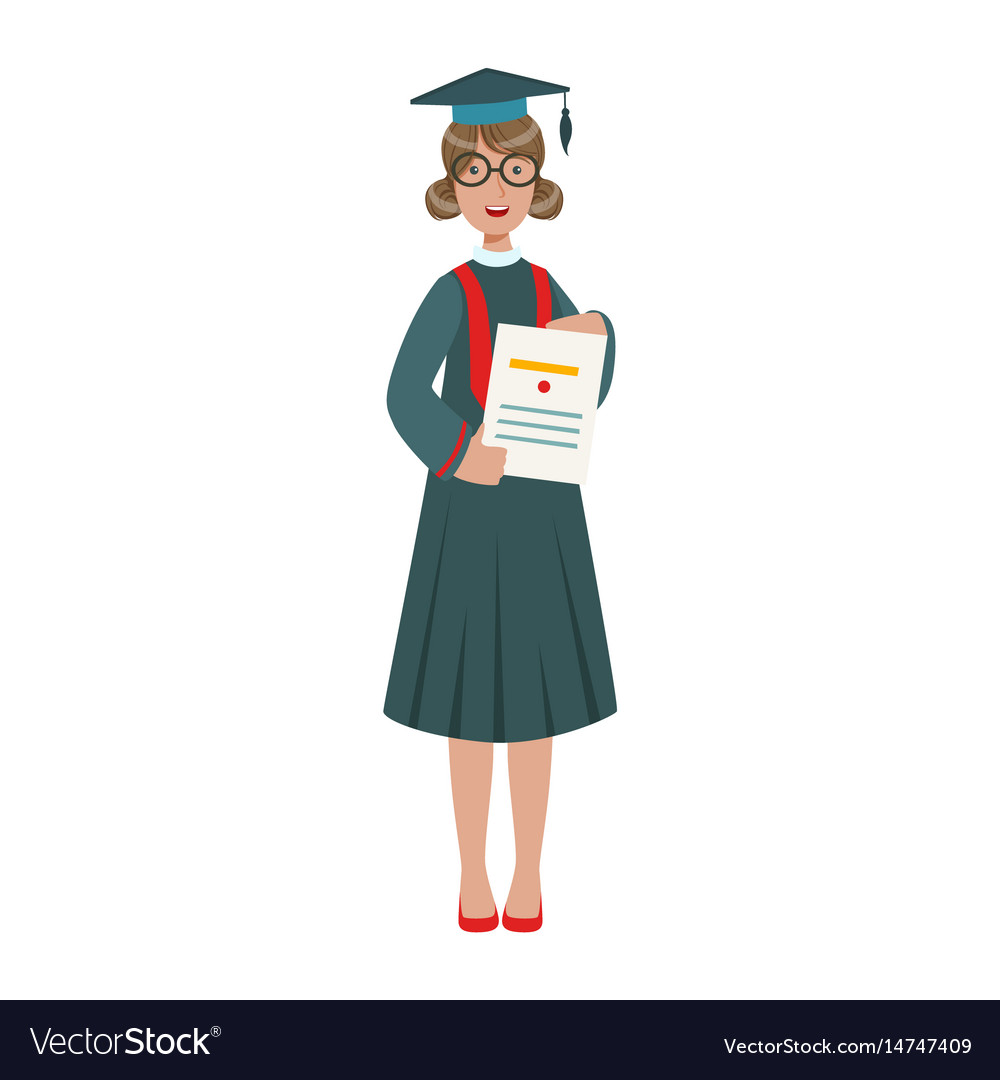 Graduated student girl in cap gown showing diploma