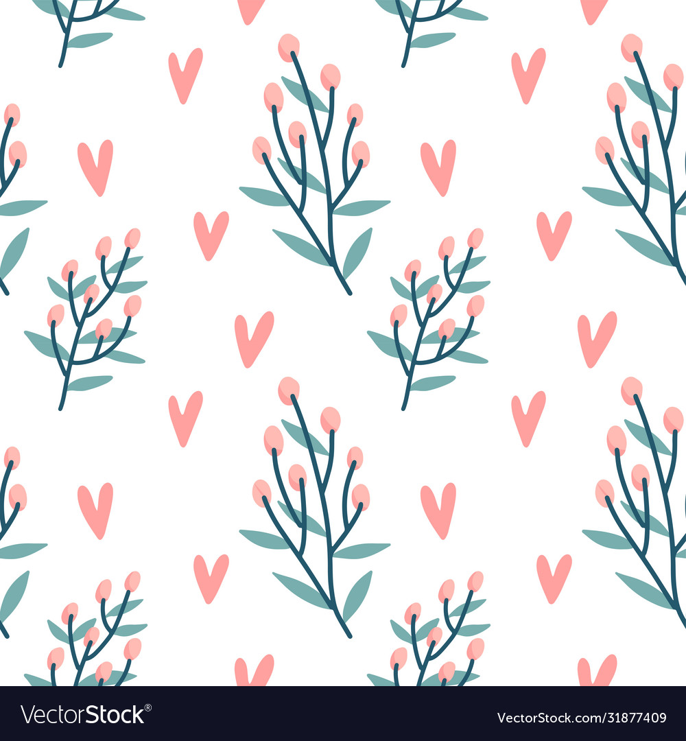 Seamless pattern hearts holly berries branch