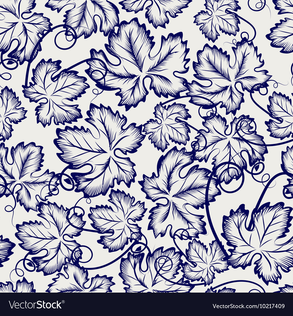 Seamless pattern with sketched grapes leaves