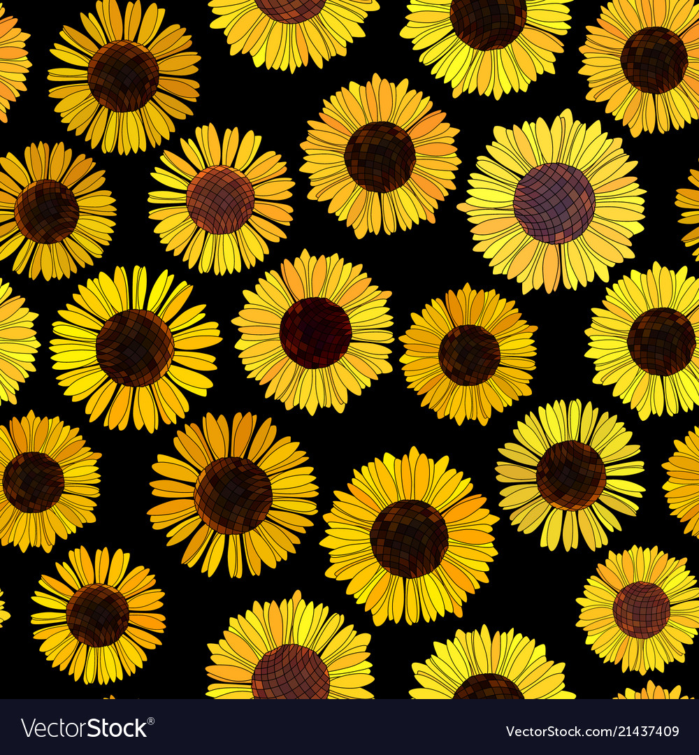 seamless sunflowers background vector 21437409