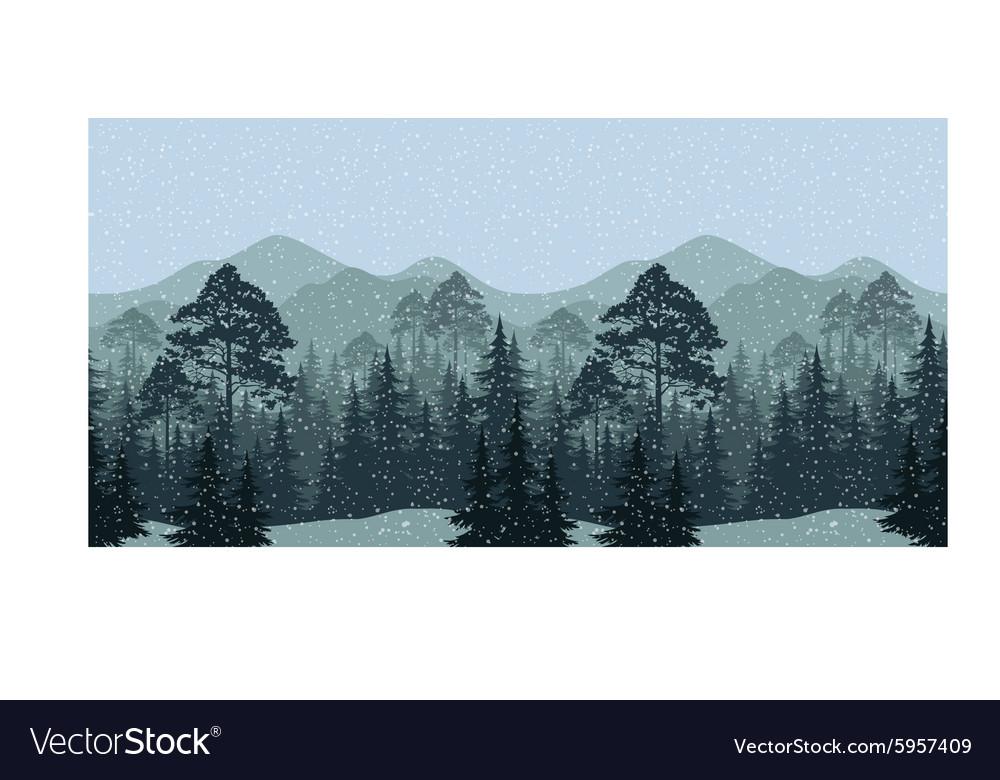 Seamless Winter Woodland Landscape vector image