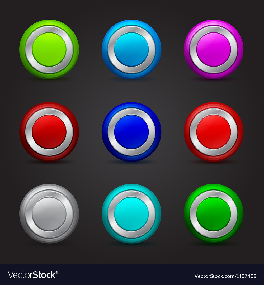 Set of round buttons with glossy effect