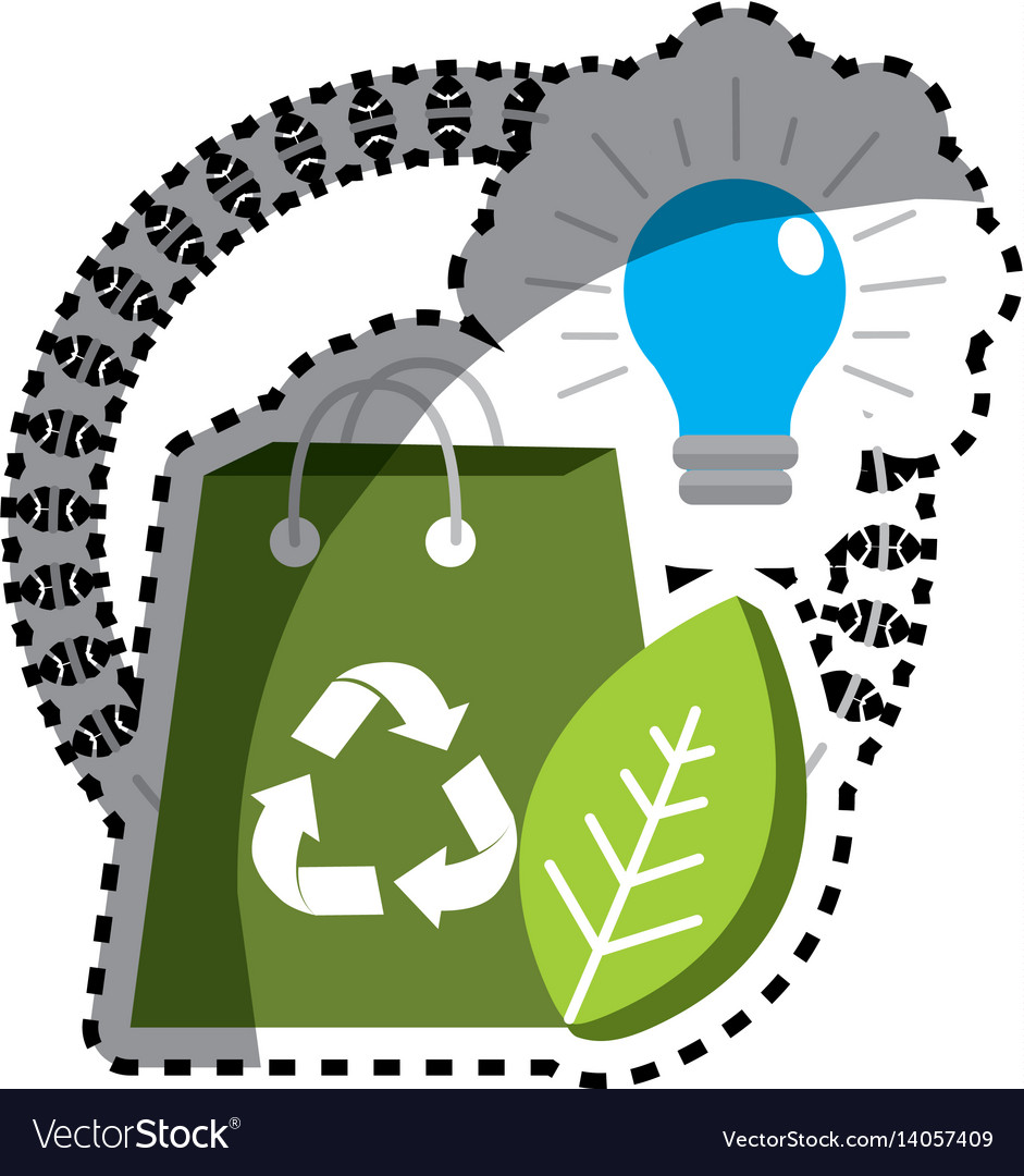 Sticker green bag with recycle sign bulb and leaf vector image