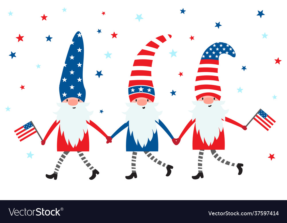 4th july usa patriotic gnomes in colors