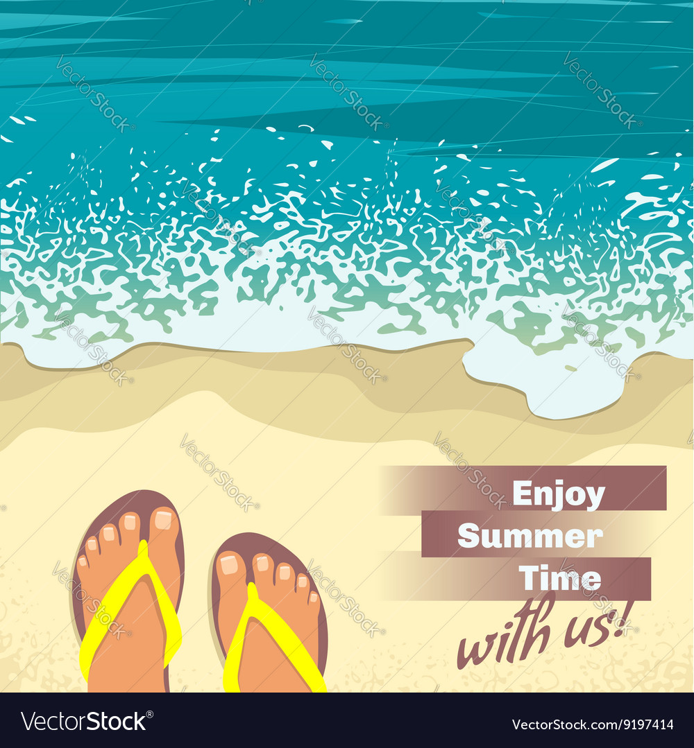 23e7a83fd Background with sea sand beach feet in sandals Vector Image