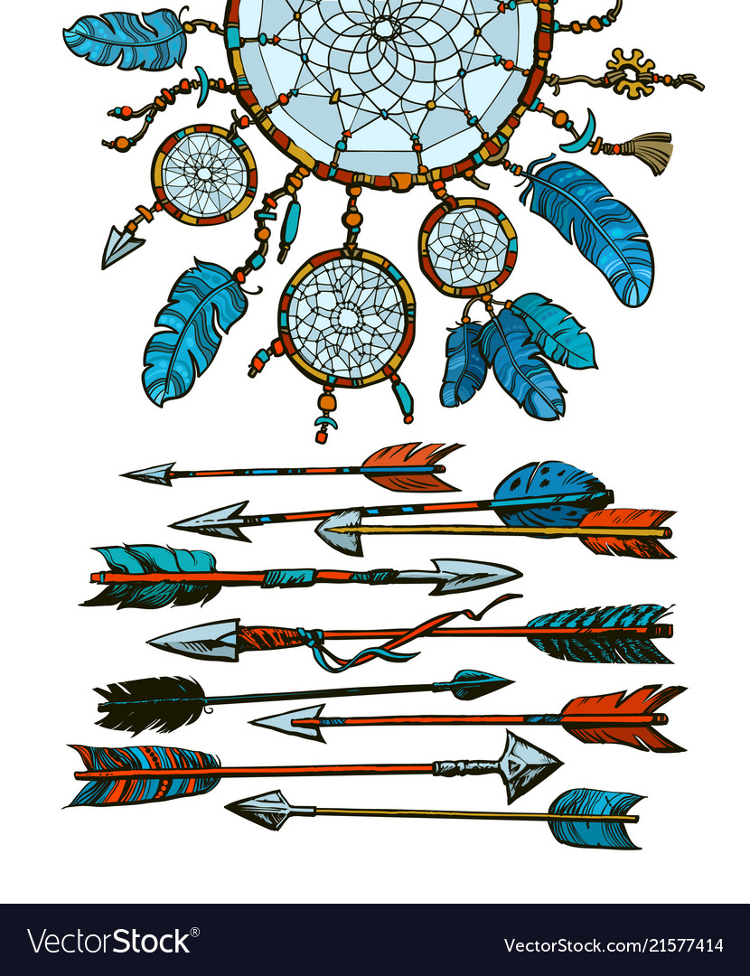 Dream catcher with arrows in boho style