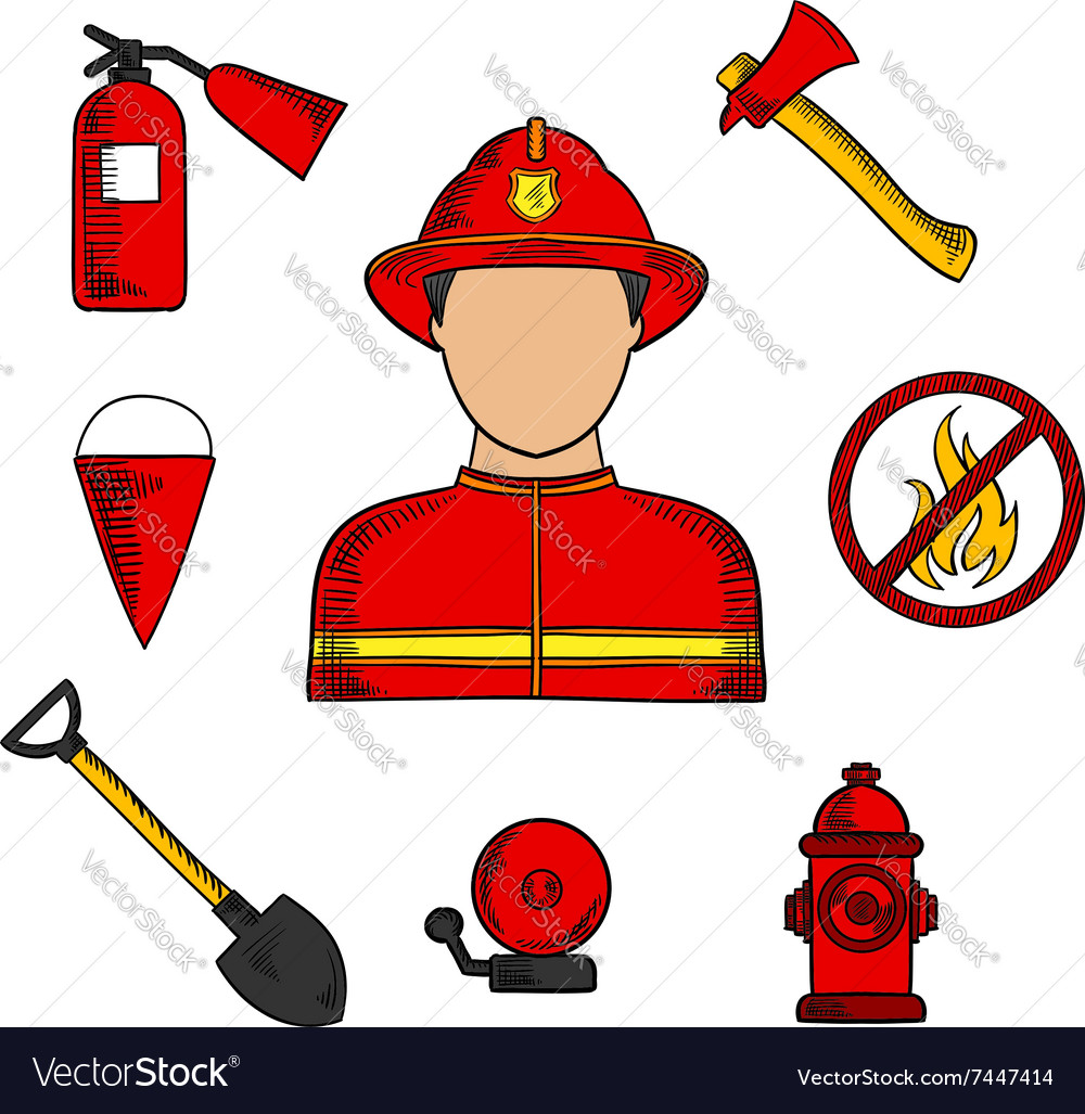 Fireman and fire fighting symbols