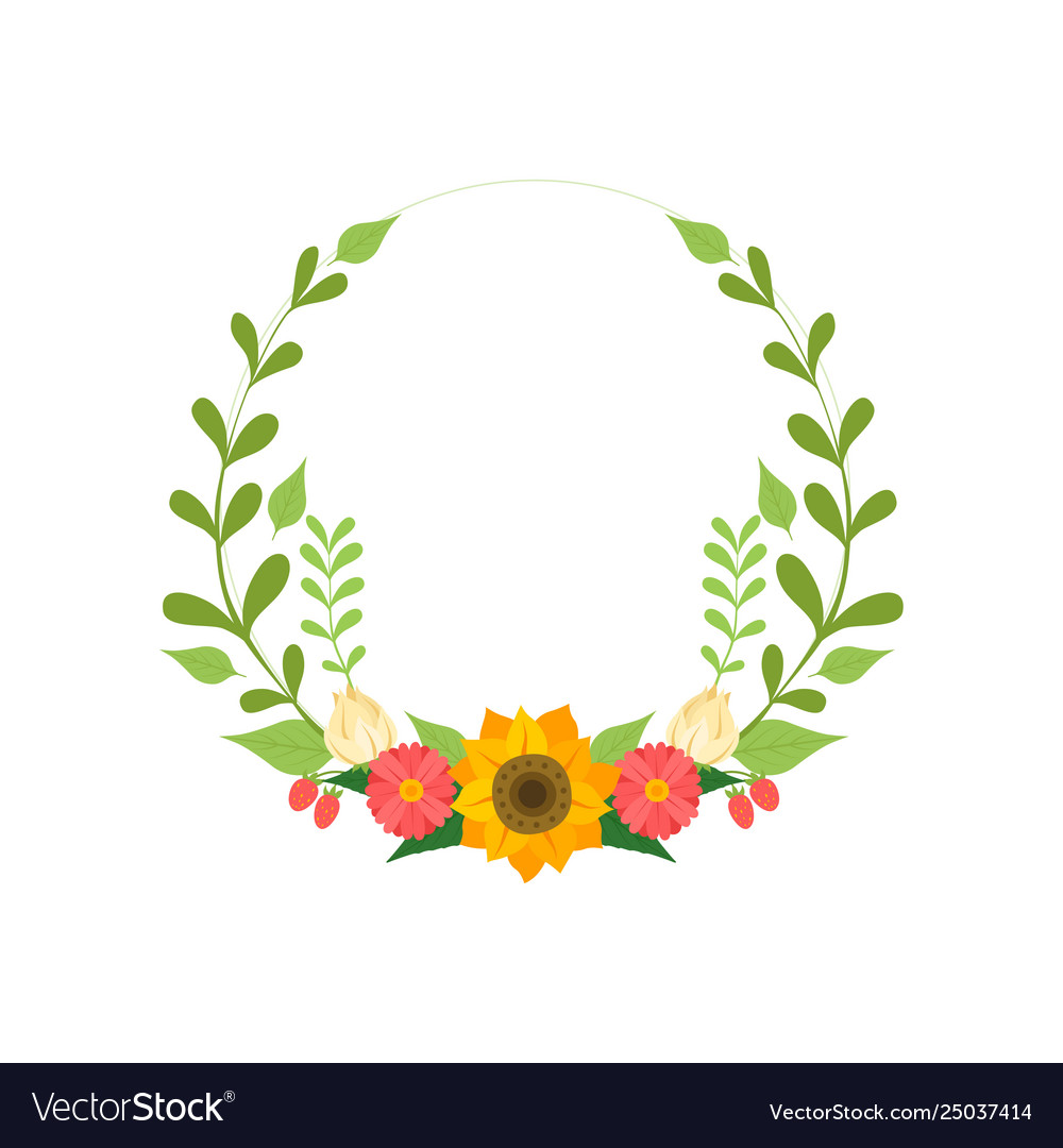 Floral wreath round border with flowers and