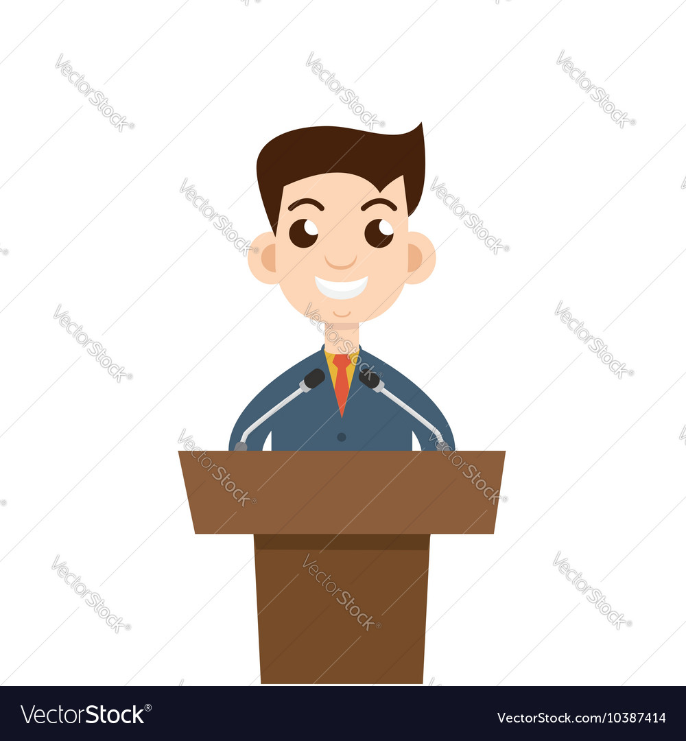 Public speaking flat design Orator speaking vector image