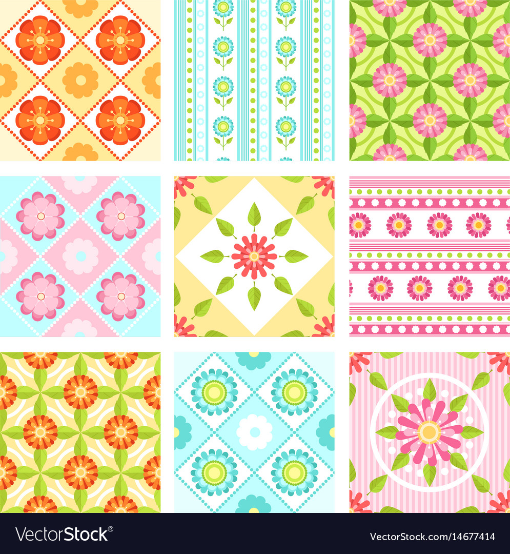Set of floral seamless pattern with different