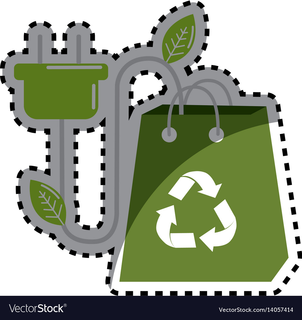 Sticker green bag with recycle sign and power vector image