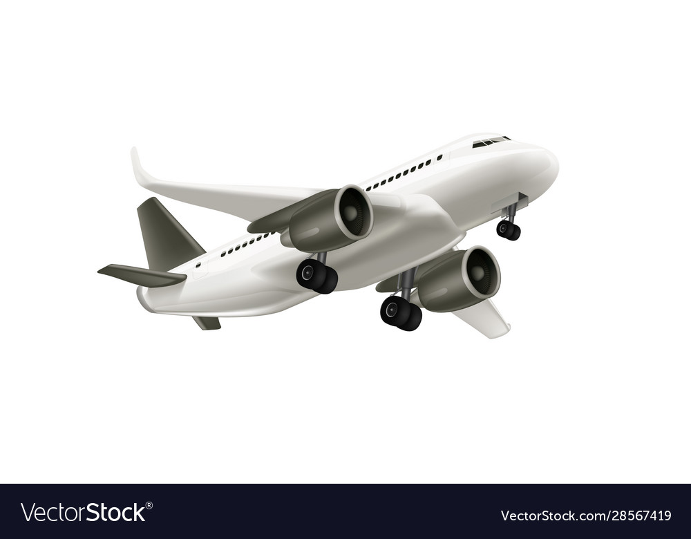 3d white glossy commercial jet airplane take off