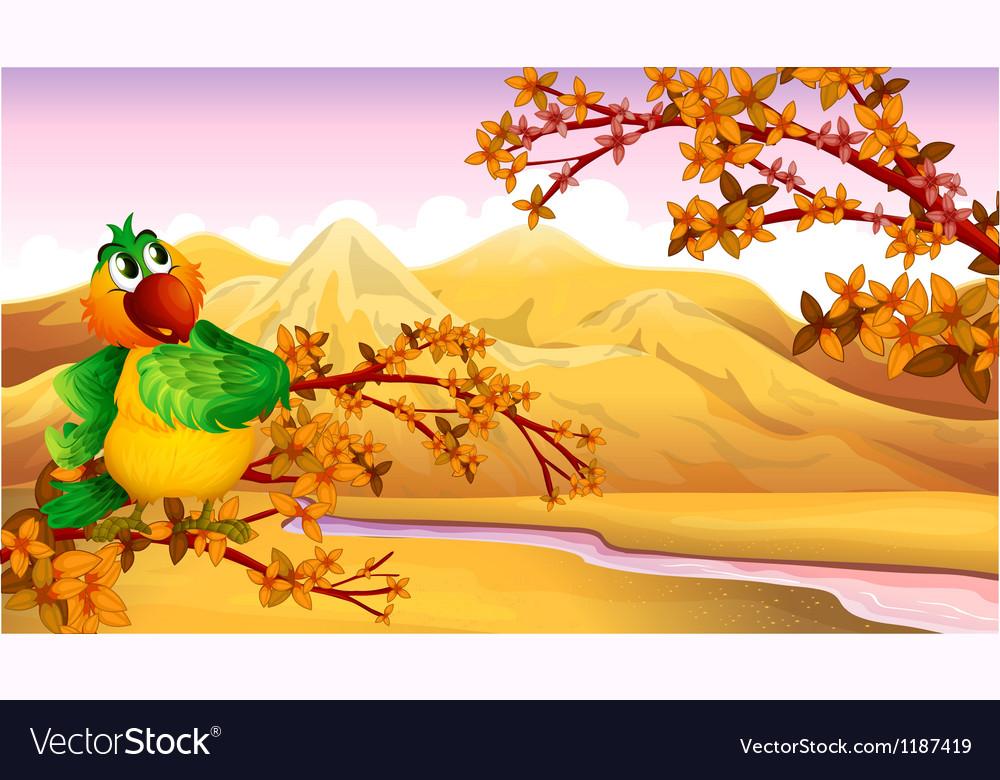 A mountain view with a bird vector image