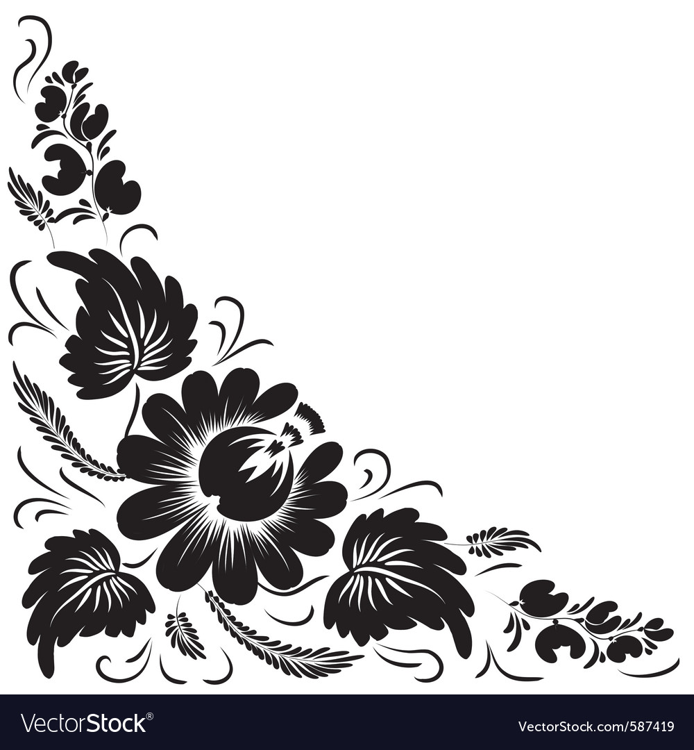 Six Black Flower Design Stock Images: Black Flowers Royalty Free Vector Image