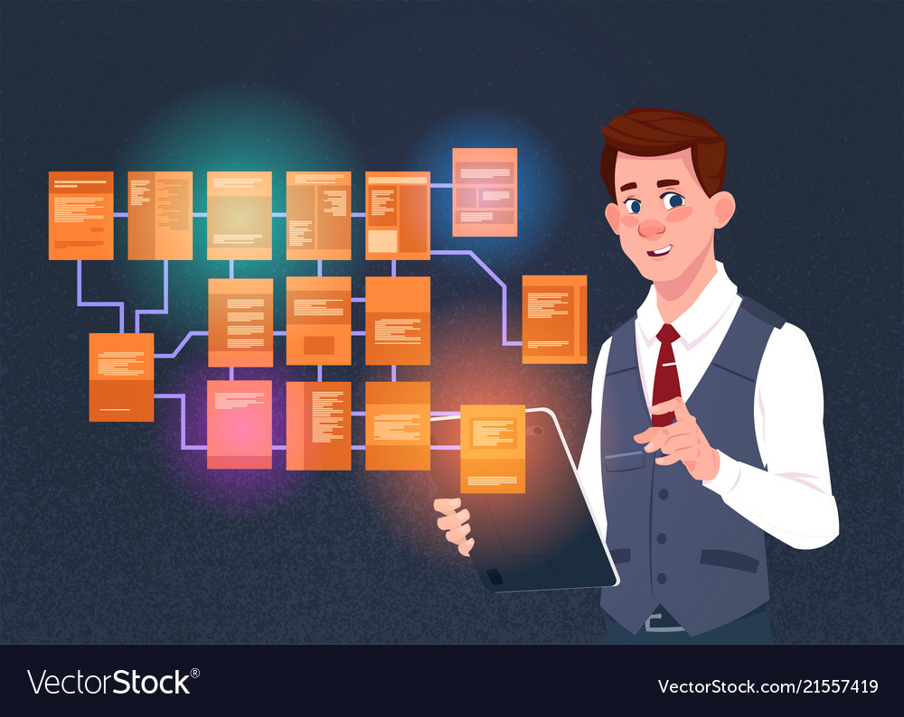 Businessman with laptop over site map suitable for
