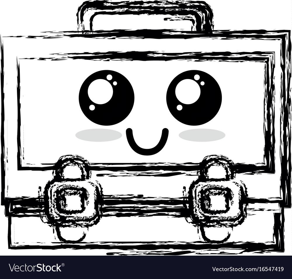 Figure kawaii cute happy suitcase design