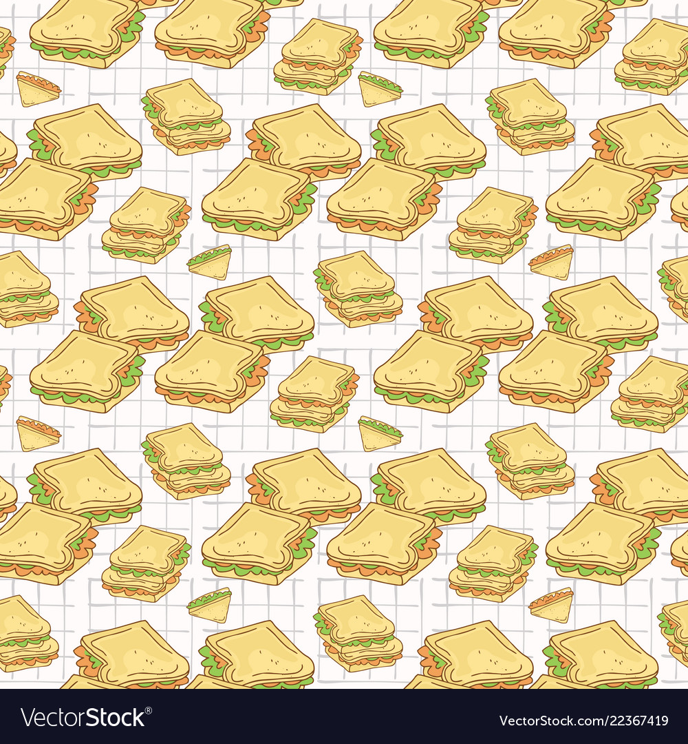 Filled bread slices seamless pattern hand