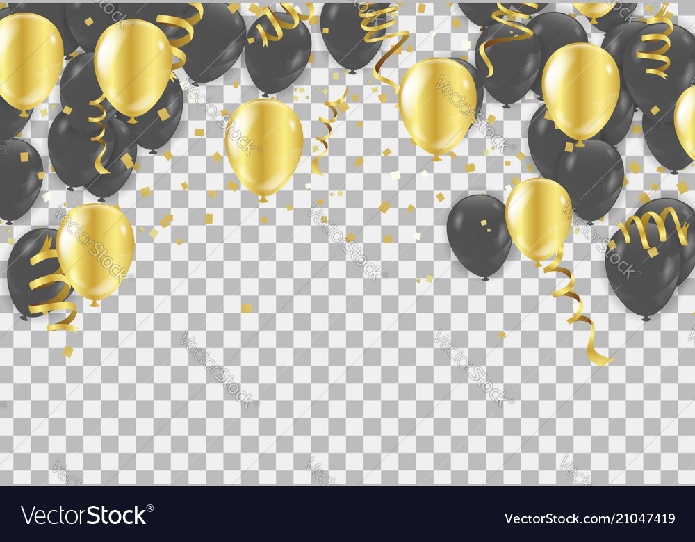 Gold and black balloons confetti