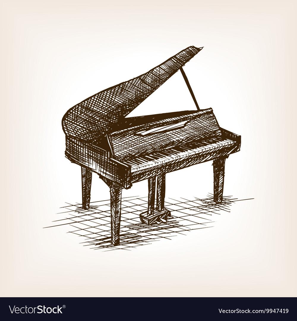Grand piano hand drawn sketch style