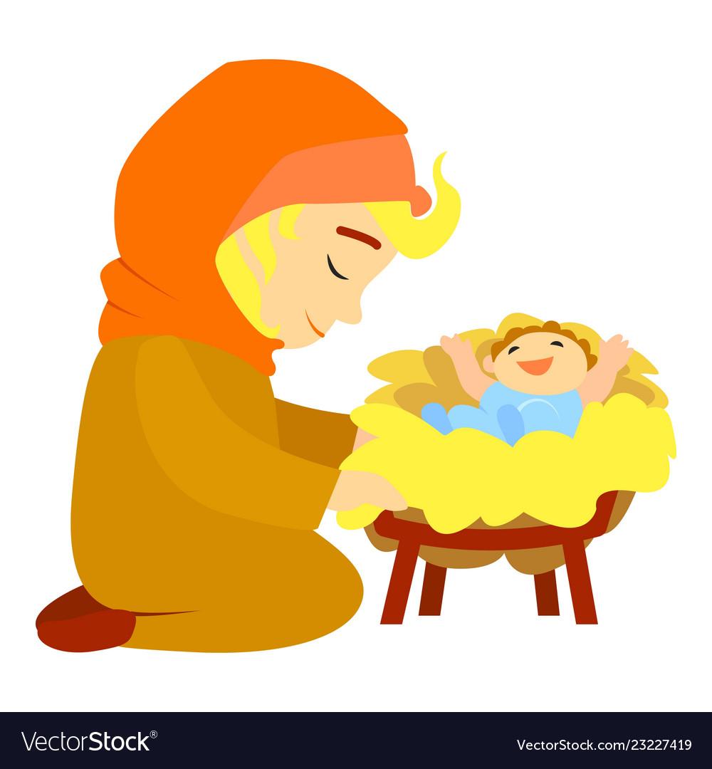 Jesus birth icon cartoon style