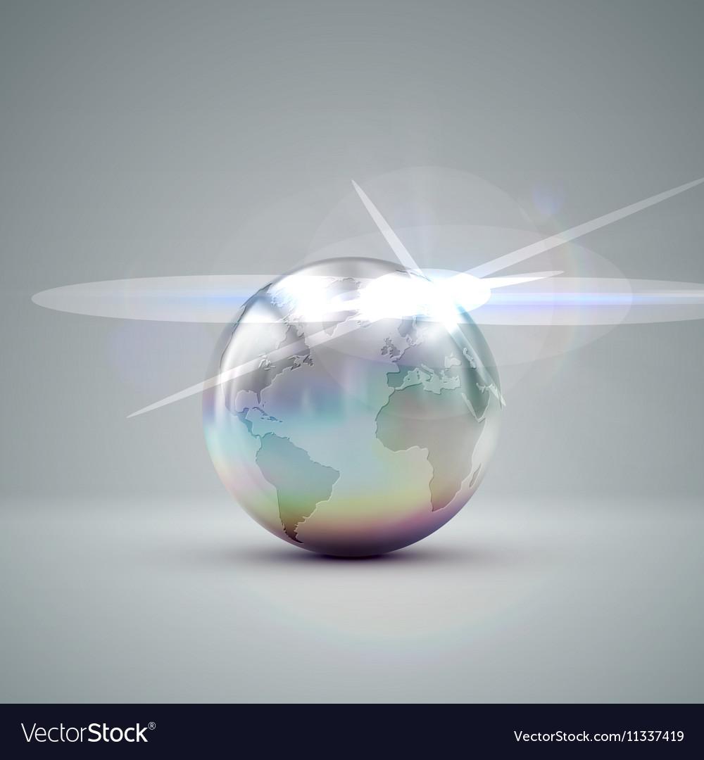 Metallic Earth globe vector image