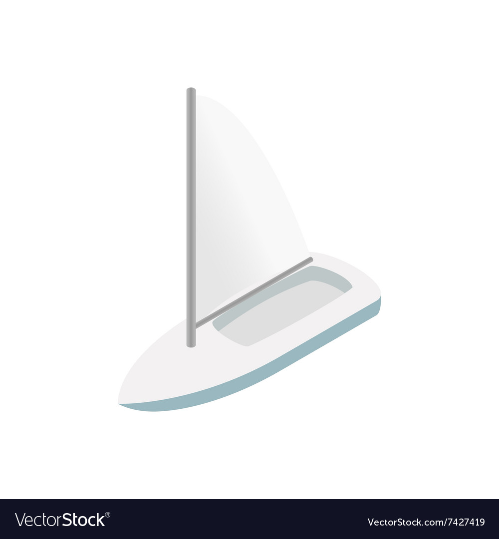 Sailing yacht isometric 3d icon vector image