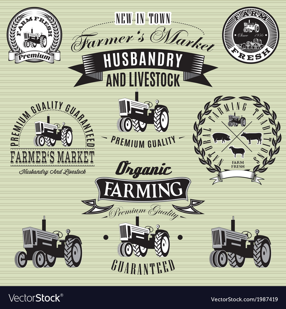 Set of labels with a tractor for livestock and cro