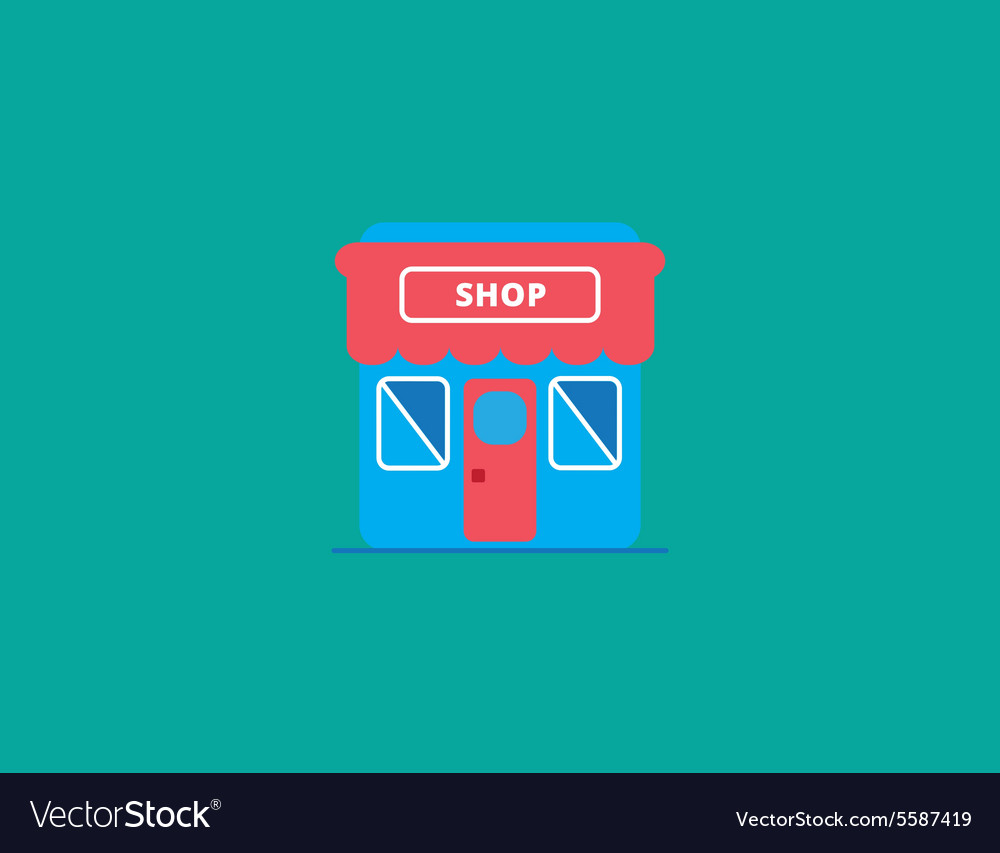 Shop and store icon flat style