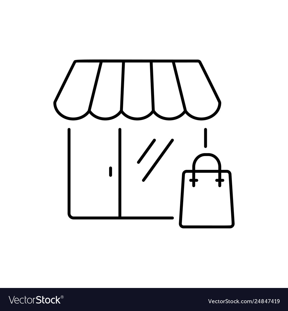 Shopping icon in thin line style symbol