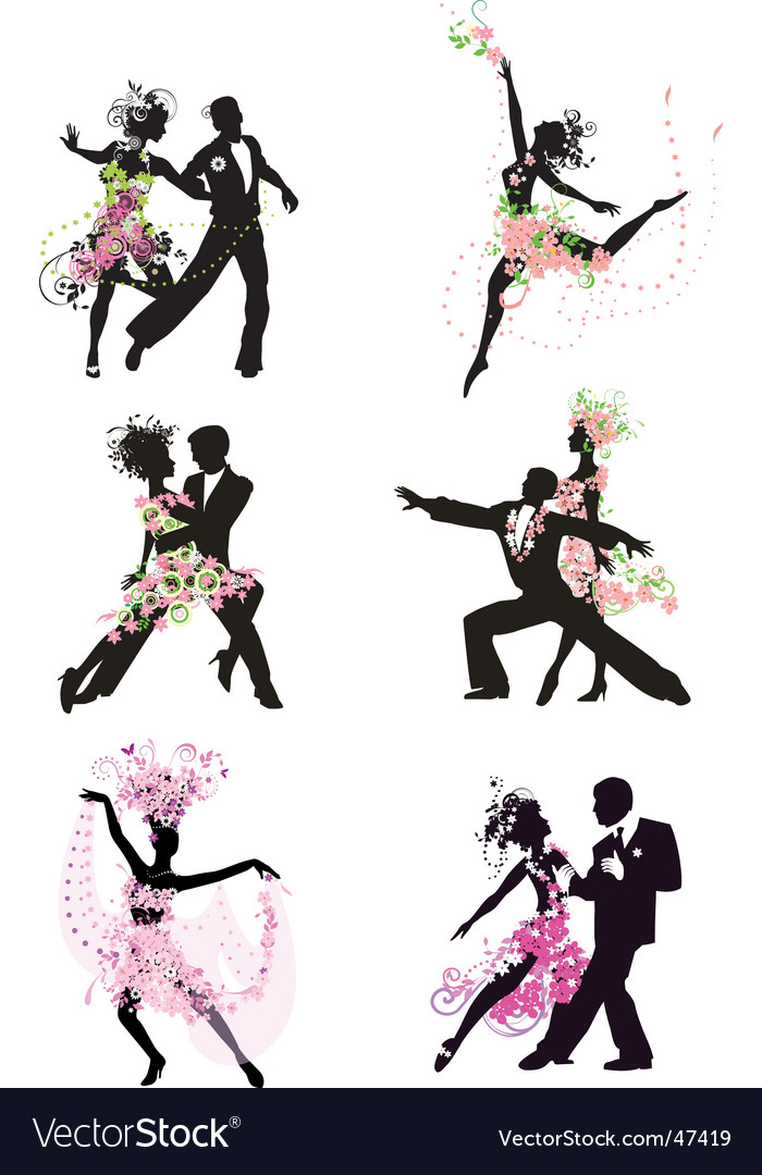 Silhouette dancing people vector image