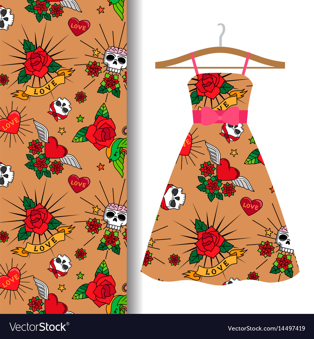Women dress fabric with tattoo elements