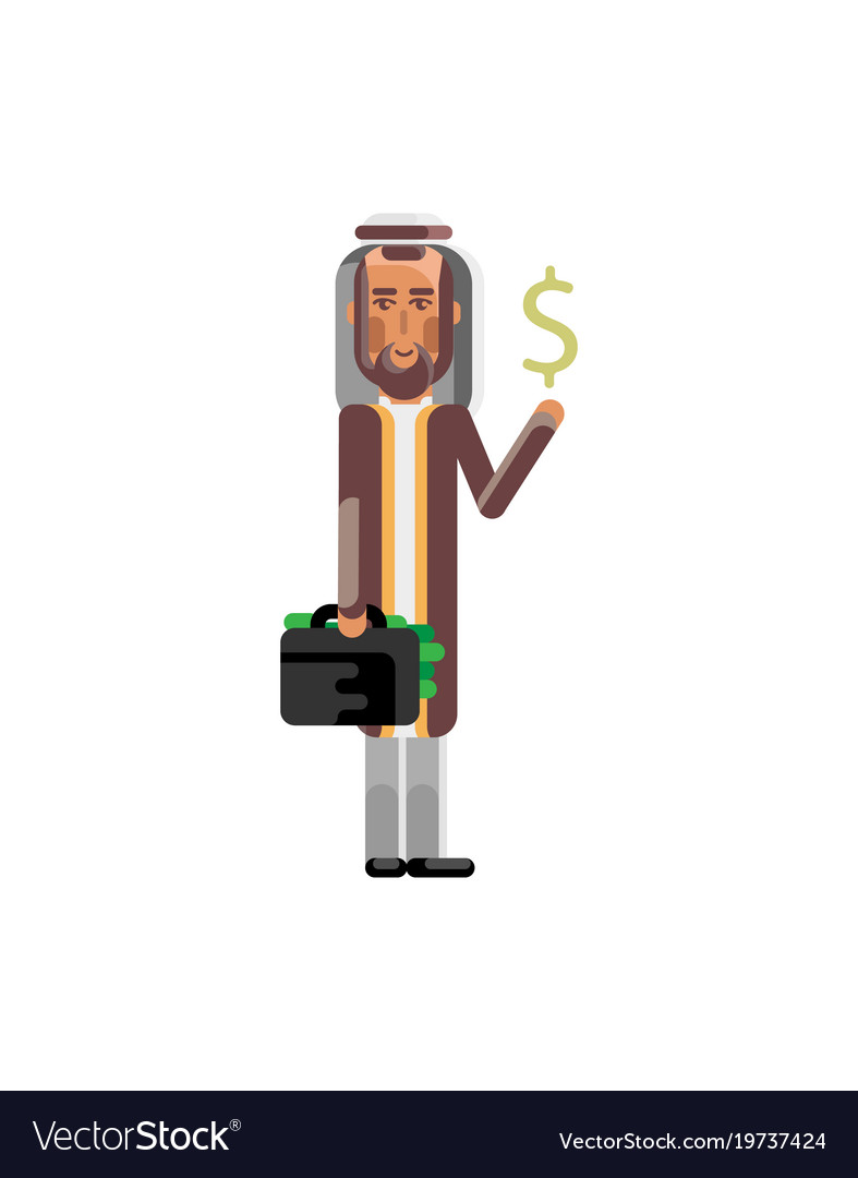Arabic man with suitcase and dollar sign in hands