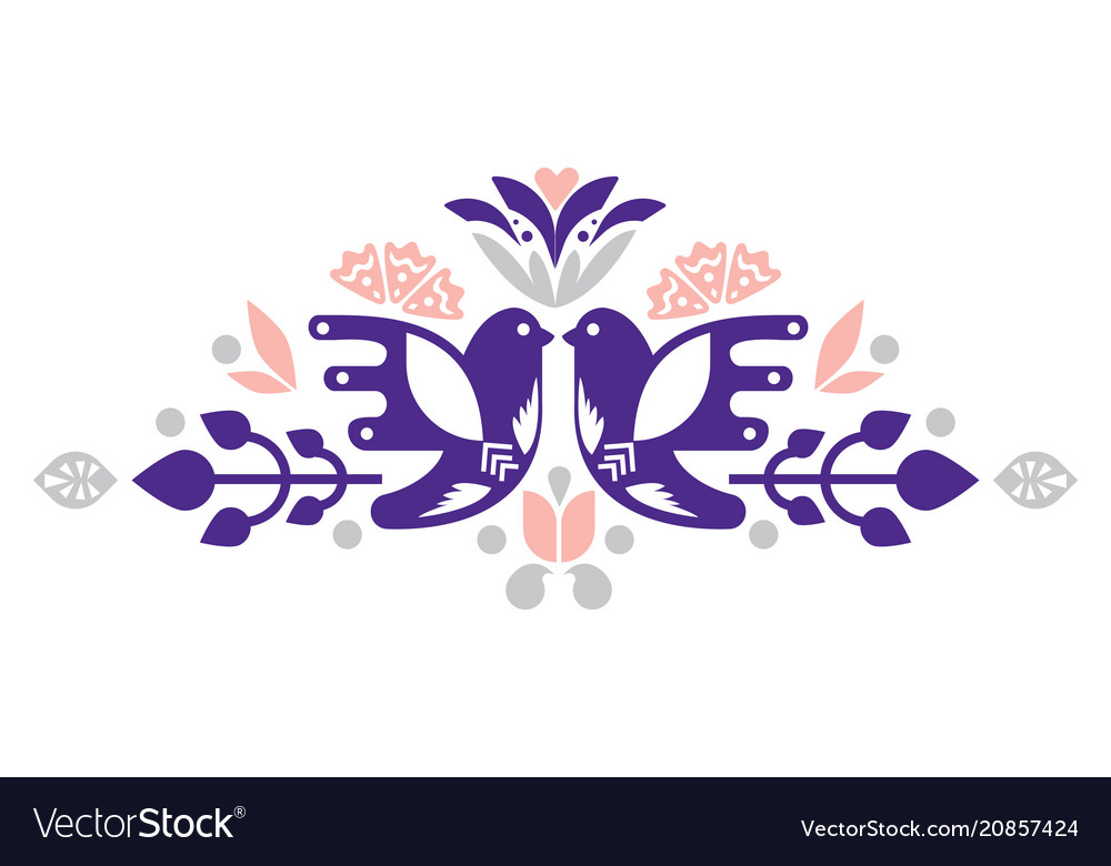 Birds decorative compositional elements for tags