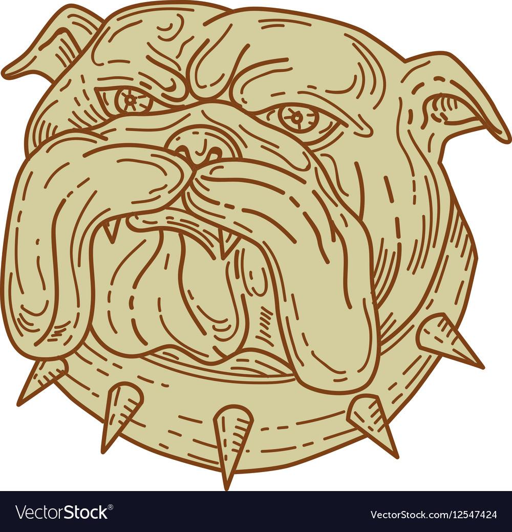Bulldog Dog Mongrel Head Collar Mono Line vector image