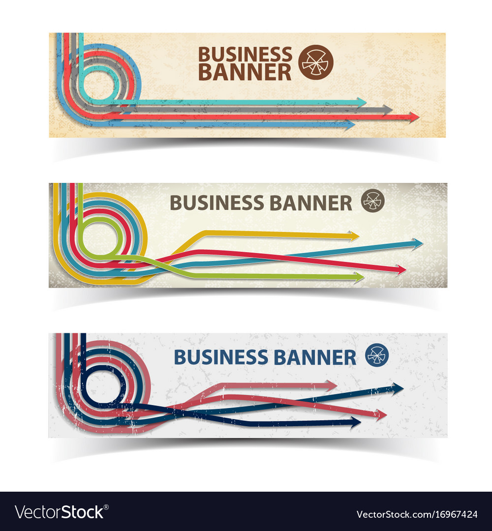 Business horizontal banners collection
