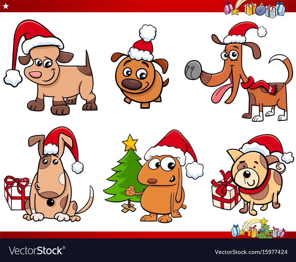 Cartoon dog characters on christmas set vector image