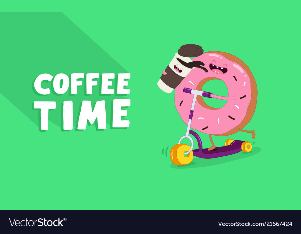 Coffee and donut riding a scooter graphics