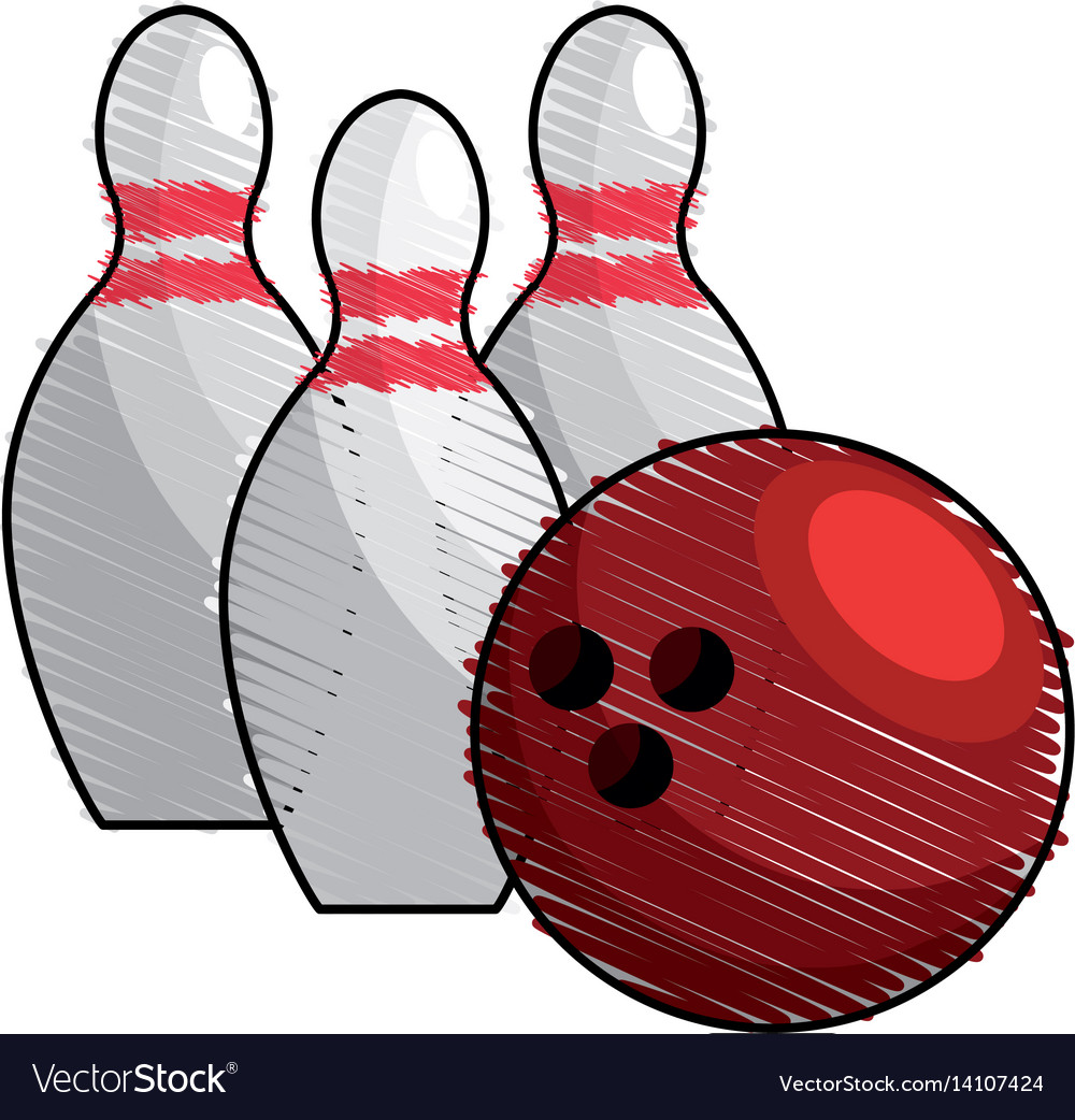 Color bowling pin ball icon