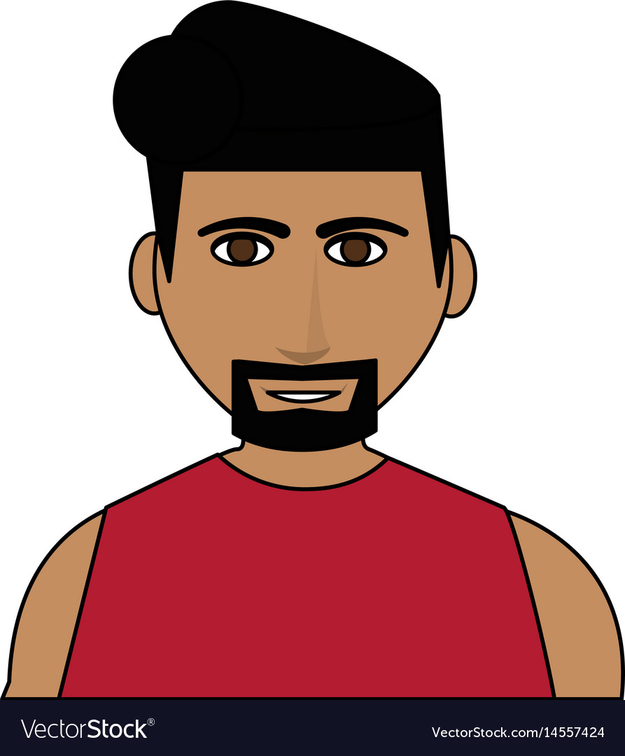 Color image cartoon half body man with muscular vector image