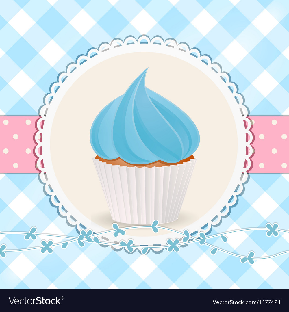 Cupcake with blue icing on blue gingham background
